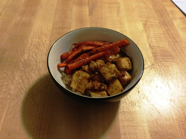 Crispy Honey-Soy Tofu with sesame carrots & brown rice.
