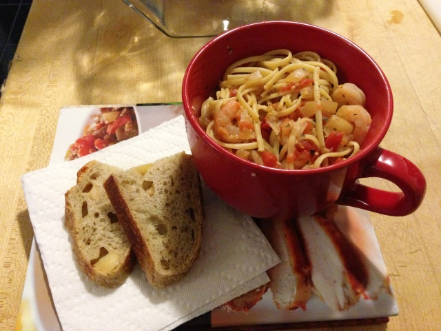 Shrimp fra Dialvolo, with linguine & the best bread in the world
